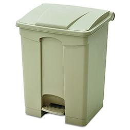 Safco Products Plastic Step-On Trash Can 9923TN, Tan, Hands-