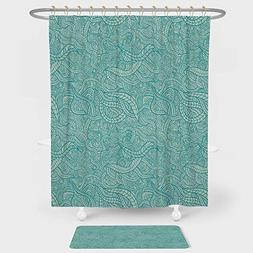 Aqua Shower Curtain And Floor Mat Combination Set Vintage Bo