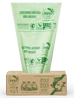 UNNI ASTM D6400 100% Compostable Bags,2.6 Gallon,200 Count,E