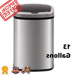 Automatic Stainless Steel Trash Garbage Can Touch Free Motio