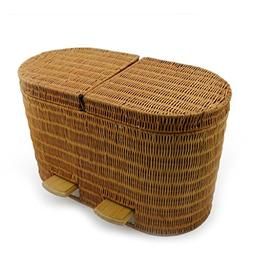 DUOER home Bamboo And Rattan Home Office Pedal with Trash Bi