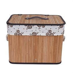 SHZONS Bamboo Storage Basket, Laundry Basket Bamboo Woven St