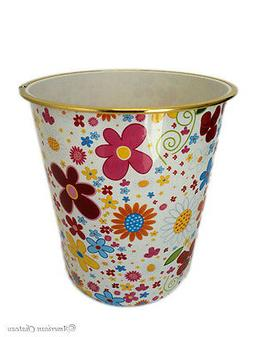 "Bathroom/Kids Room 9"" Retro Flower Plastic Waste Basket Tras"