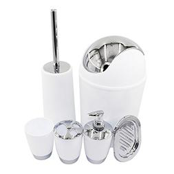 TiTa-Dong Bathroom Accessories Set, 6 Piece Plastic Bath and