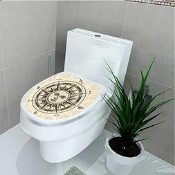 Bathroom Toilet Collection Vintage Compass Rose with Sun Sha
