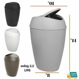 Bathroom Trash Can Swing-top Lid Plastic Garbage Office Home