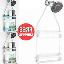 Bathrooms Space Flex Shower Caddy Plastic Wide Shelves and F