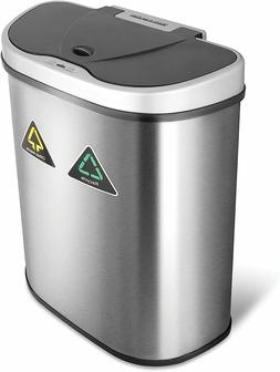 Recycling Trash Bin Double Garbage Sorter Touchless Can Stai