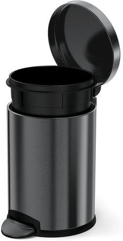 Black 4.5 Liter / 1.2 Gallon Round Bathroom Step Trash Can,