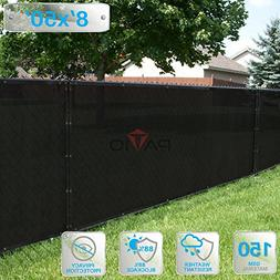 Patio Paradise 8' x 50' Black Fence Privacy Screen, Commerci