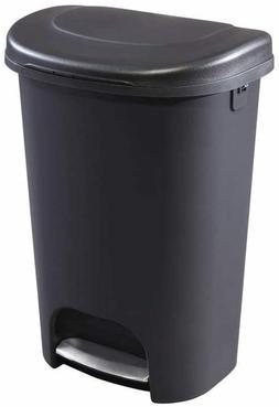 RUBBERMAID Black Foot Pedal Trash Can 13 Gallon Garbage Bin