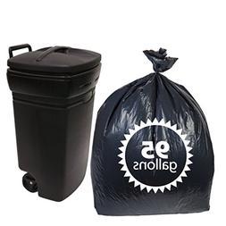 Black Plastic 95 Gallon Trash Bagsx25 Count Extra Heavy Duty