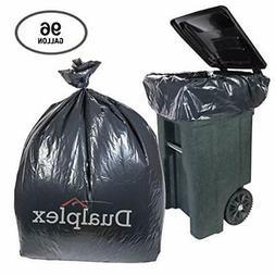 Dualplex 96 Gallon Black Trash Bags for Toter 1.5 Mill Garba