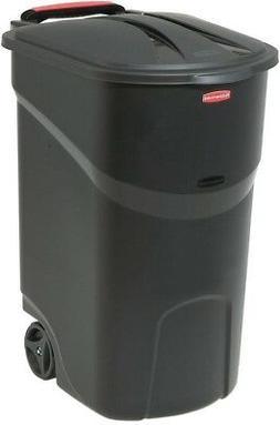 Black Wheeled Garbage Can with Lid Rolling Trash Bin 45 Gal