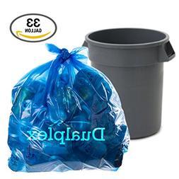 "Dualplex Blue Recycling Bags, 33 Gal, 100/case, 1.2 Mil 33"""