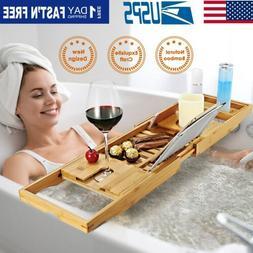 Breakfast Serving Tray Bathtub Caddy Bath Food Wood Table Be
