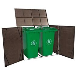 Brown Double Wheelie Bins Refuse Storage Shed Poly Rattan Tr