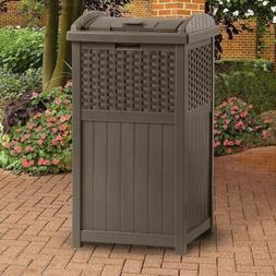 brown outdoor resin trash can garbage waste
