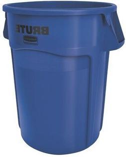 Brute Vented Trash Receptacle, Round, 44 gal, Blue