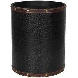 ORIENTAL FURNITURE Black Faux Leather Waste Basket