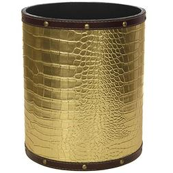 Oriental Furniture CAN-WST-CROC-GLD Gold Faux Leather Waste