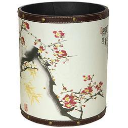 ORIENTAL FURNITURE CAN-WST-Love-A Cherry Blossom Waste Baske