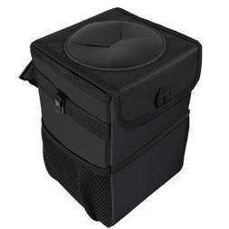 Car Trash Can Garbage Bag with Lid and Storage Pockets Folda
