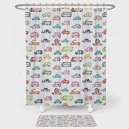 Cars Shower Curtain And Floor Mat Combination Set Various Ty