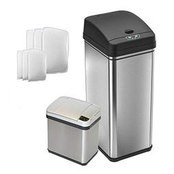 iTouchless CDZT02CF06 Combo Pack Sensor Trash Cans with 8 Fi