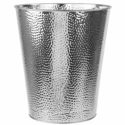 Home Basics Chrome Hammered Steel 5 Liter Trash Waste Bin Ga
