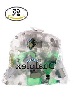 Dualplex 65 Gallon Clear Recycling Trash Bags 1.5 Mill Garba