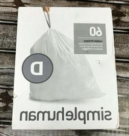 simplehuman Code D Custom Fit Liners, Drawstring Trash Bags,