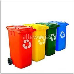 Colorful Recycle Bins Isolated Paper Print Wall Art