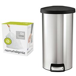 Combo of Simplehuman 30 L / 8 Gal Stainless Steel Round Step