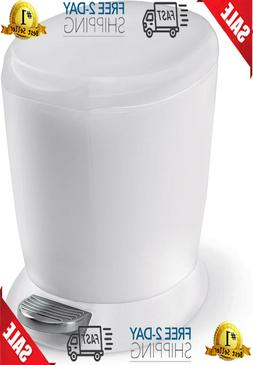 Compact Plastic Round Bathroom Step Trash Can White 6 Liter