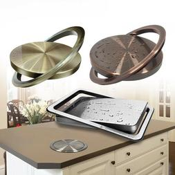Counter Top Trash Bin Cover Table Built in Garbage Flap Can