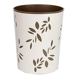 Battletter Creative Round Plastic Trash Can with Bamboo Leaf