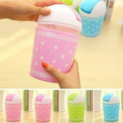 Cute Mini Trash Can Garbage Waste Storage Cover Portable Off