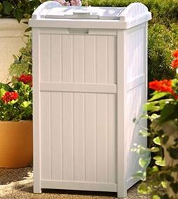 Suncast 30-33 Gallon Deck Patio Resin Garbage Trash Can Hide