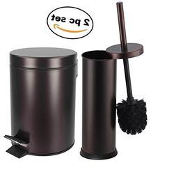 Elaine Karen Deluxe 2 pc Toilet Brush and Garbage Can Set -
