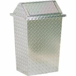 Diamond Plate Trash Can With Removable Lid