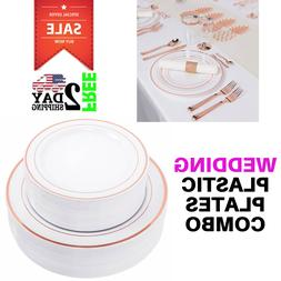 WDF 60pcs Disposable Plastic Plates-10.25inch Dinner Plates-