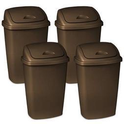 4 Pack of Dual-Action Swing-top 13.2 Gallon Wastebasket, Bro