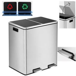 Dual Bucket Recycle Sort Trash Can 16 Gal/60 L Stainless Ste