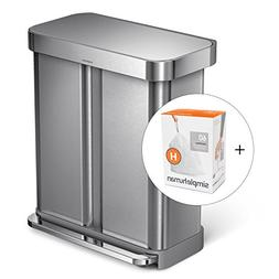 simplehuman 58L Dual Compartment Recycler with Liner Pocket,
