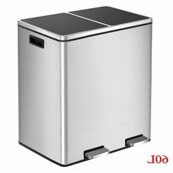 Dual Trash Can Garbage Can 16 Gal Metal Step Bin with Dual C
