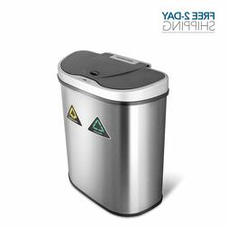 Dual Trash Can Bin for Garbage and Recycling with Motion Sen