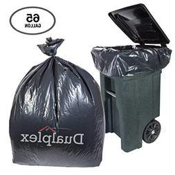 Dualplex 65 Gallon Black Trash Bags 1.5 Mill Garbage Bag 50