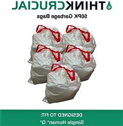 50PK Durable Garbage Bags Fit Simple Human Q - 50-65L / 13-1