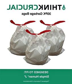 30 PK Durable Garbage Bags Fit Simple Human J - 30-45L / 8-1